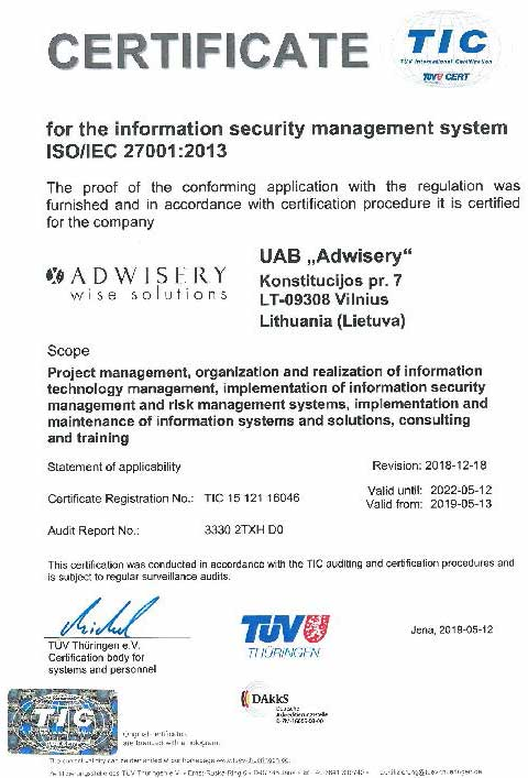 Adwisery - ISO 27001 certificate