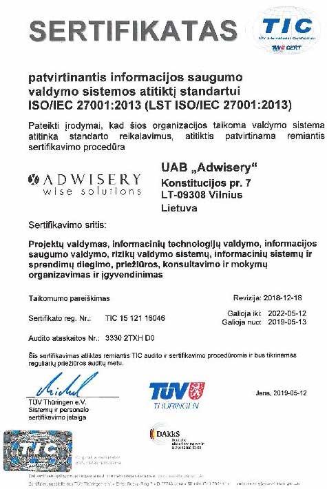 Adwisery - ISO 27001 sertifikatas