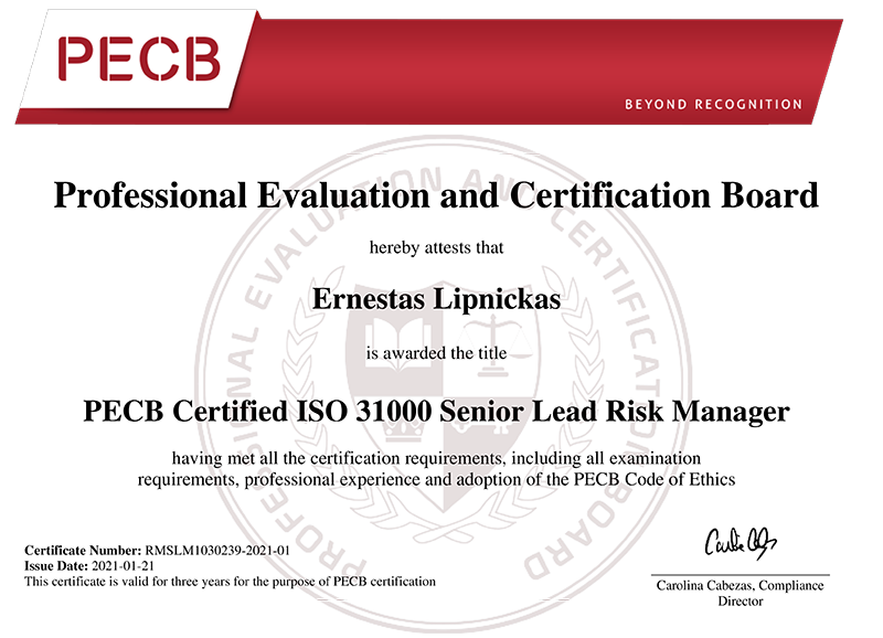 E.Lipnickas PECB Certified ISO 31000 Senior Lead Risk Manager certificate