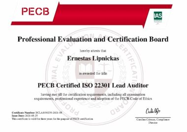 ADWISERY Expert Ernestas Lipnickas received PECB Certified ISO 22301 Lead Auditor certificate